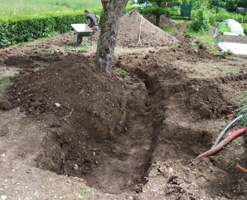 Izkop za bazo namakalnega sistema, ki je škatla zakopana v zemljo
